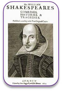 Droeshout's portrait of Shakespeare on the cover of the First Folio
