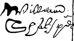 Shakespeare's signature on the deed of sale of a house in Blackfriars, London (1613)
