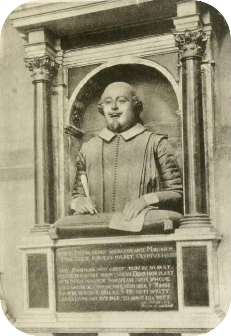 The Bust of William Shakespeare, also called the Stratford Monument.