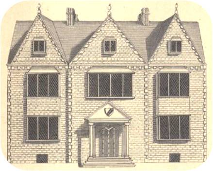 A facsimile of an engraving of New Place published by Malone, from a drawing from Carew's Ancient Survey, found in Clopton (near Stratford) in 1786.
