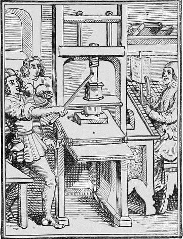 Old printing press. From The Triumphs of the Printing Press. Walter Gerrold. London, Partridge & Co.